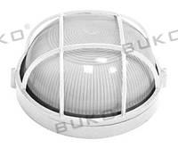 Светильник влагозащищенный BUKO E27 100W круглый c решеткой белый, черный IP54