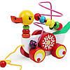 Деревянная игрушка Пальчиковый лабиринт-каталка Уточка