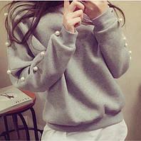 Женский свитер,турецкая трёхнитка на рукавах декоративный жемчуг.