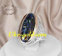 Красивое кольцо серебро со вставками золота с большим камнем
