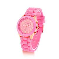 Модные стильные женские часы GENEVA Luxury , розовые