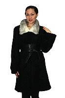 Удлиненный полушубок черного цвета (каракуль) с воротником из норки