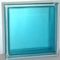 """Стеклоблок Blue """"Гладкий"""" цветной яркий Brilly С 19х19х8 см"""