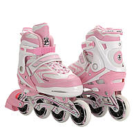 Роликовые коньки раздвижные ZELART LUX (PL, PVC, колесо PU, алюм. рама, розовый)