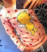 """Ультрамодная женская молодежная толстовка-свитшот  с фотопринтом """"Мишка-ангел"""". Разные цвета."""