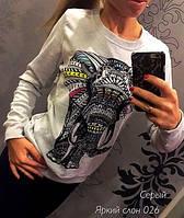 """Ультрамодная женская молодежная толстовка-свитшот  с фотопринтом """"Яркий слон"""". Разные цвета."""