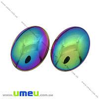 Кабошон нат. камень Гематит разноцветный, Овал, 18х13 мм, 1 шт (KAB-012684)