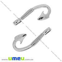 Подвеска металлическая Крючок, Античное серебро, 31х14 мм, 1 шт (POD-000235)