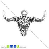 Подвеска металлическая Голова Быка, Античное серебро, 35х53х9 мм, 1 шт (POD-003360)