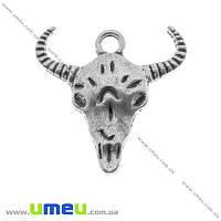 Подвеска металлическая Голова Быка, Античное серебро, 20х20 мм, 1 шт (POD-002541)