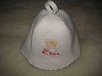 Белая шапка в сауну из натуральтной ткани