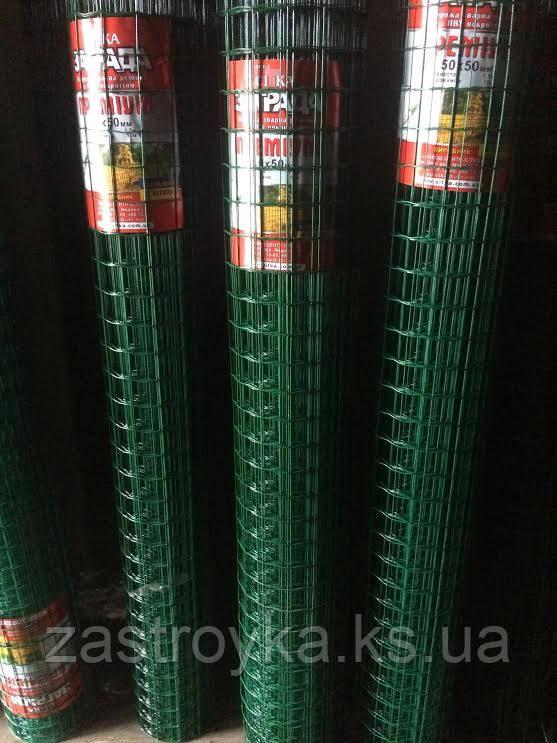 Рулоны ограждения  ЗАГРАДА ПРЕМИУМ +ПВХ 1.5х25м 50х50мм