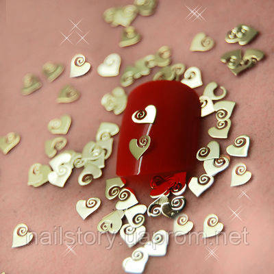 """Металлические фигурки """"Сердце"""" для дизайна ногтей, фото 2"""