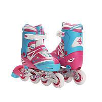 Роликовые коньки раздвижные ZELART FOREVER (PL, PVC, колесо PU, алюм. рама, розов-син), фото 1