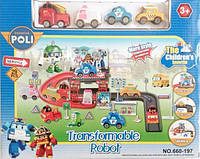 Трек гараж полли робокар машинка для мальчика игрушка набор гонщика