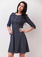 Трикотажное женское платье мини с юбкой-солнце и рукавами ¾ 90148, фото 1