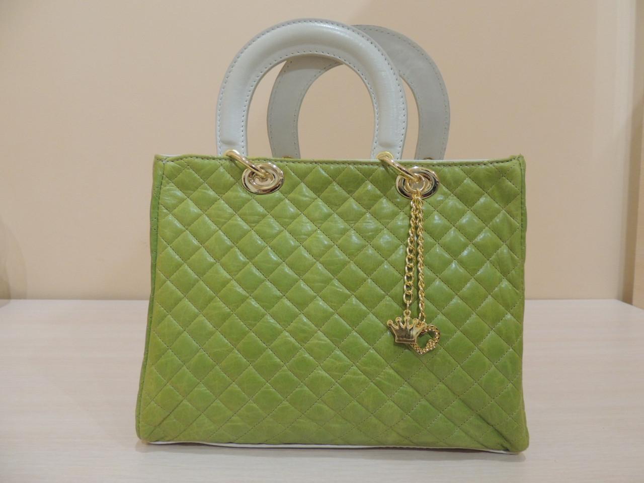 Оригинальная кожаная женская сумочка (Италия) Зеленый, фото 1