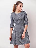 Трикотажное женское платье мини с юбкой-солнце и рукавами ¾ 90148/1, фото 1