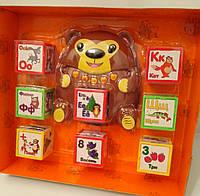 Умный медвежонок, Развивающая интерактивная игрушка + раскраска!кубики, говорящая азбука