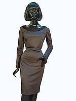 Платье чёрное с вырезом лодочкой и бисером-воротником по горловине Арт.1092