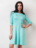 Платье с декоративной змейкой, юбкой - солнце 90151