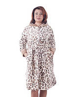Женский короткий махровый халат большого размера-на молнии