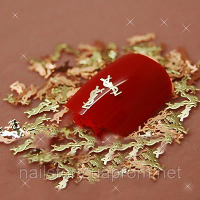 """Металлические логотипы """"YSL"""" для дизайна ногтей, фото 2"""
