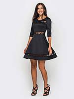 Приталенное женское платье с вставками из гипюра, юбкой-солнце, рукава 3/4 90184 50