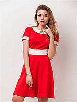 Расклешенное летнее женское платье с коротким рукавом 90157