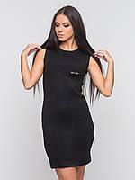 Теплое, вязаное женское платье по фигуре без рукавов 90139