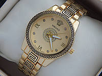 Женские кварцевые наручные часы Versace с орнаментом желтый циферблат