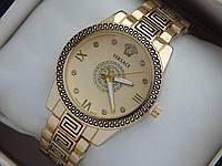 Женские кварцевые наручные часы Versace с орнаментом желтый циферблат, фото 1