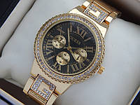 Женские кварцевые наручные часы Guess золотого цвета с римскими цифрами, фото 1