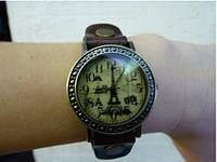 Наручные часы  Париж(тёмно-синий,коричневый ремешок)