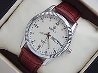 Мужские (Женские) кварцевые наручные часы Rolex на кожаном ремешке коричневого цвета