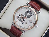 Мужские (Женские) кварцевые наручные часы скелетоны Rolex на кожаном ремешке коричневого цвета, фото 1