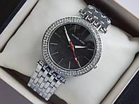 Женские кварцевые наручные часы Michael Kors серебро с двумя рядами страз, фото 1