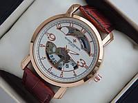 Мужские кварцевые наручные часы скелетоны Vacheron Constantin на кожаном ремешке, фото 1