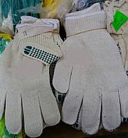 Перчатки хлопковые (хб) рабочие с ПВХ точка, белые, 20 размер