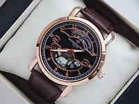Мужские кварцевые наручные часы скелетоны Vacheron Constantin на кожаном ремешке