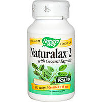 Натуральное слабительное Naturalax 2 с Каскара Саграда, Nature's Way, 445 мг, 100 капсул. Сделано в США.