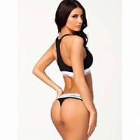 Комплект нижнего белья Calvin Klein топ и стринги размер М чёрный