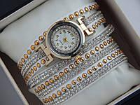Модные женские кварцевые часы на кожаном длинном ремешке со стразами, фото 1