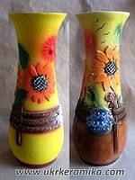 Ваза керамическая, форма «Осень», декор «Подсолнухи»
