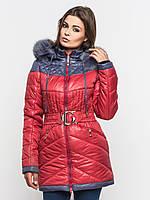Зимняя теплая двухцветная женская куртка на двойном синтепоне с натуральным мехом 90108