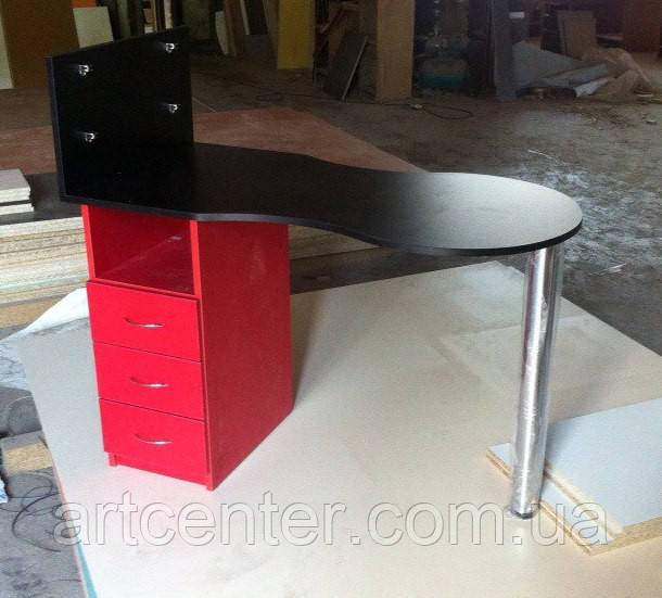 Маникюрный стол красный, стол для маникюра с черной столешницей и красной тумбой, складной, однотумб