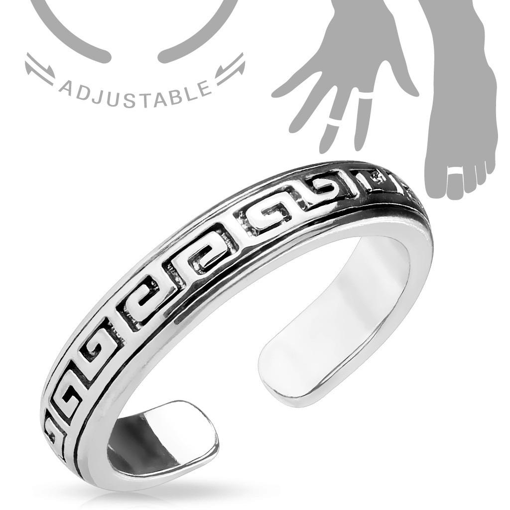 Безразмерное кольцо с орнаментом на фалангу