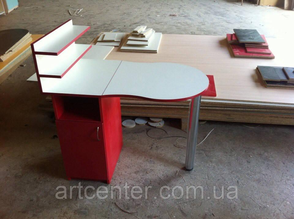 Стол для маникюра красный с белым, складной, на хромированной ножке