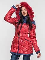 Длинная теплая женская зимняя куртка с поясом и натуральным мехом 90108/1