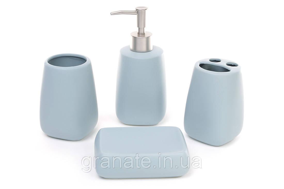 Аксессуары для ванной: дозатор, подставка для зубных щеток, стакан, мыльница, цвет - голубой